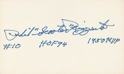 Phil Rizzuto Signed 10 Index Card Inscribed Holy Cow Scooter Mvp 1950 Hof 94