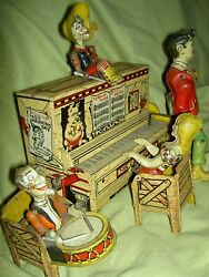 Antique, Unique Art Mfg. Co. Li'l Abner Dogpatch Band Working Wind-up Toy And Box