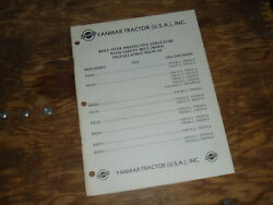 Yanmar Rb169 Rops Ym169ns-4 Tractor Install Operator Maintenance Manual