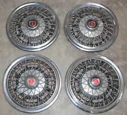 4 1974-1979 Ford 15 Wire Spoke Hub Cap Set - Chrome - Mustang Ranchero