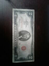 1963 Two 2 Dollar Bill United States Red Seal Note