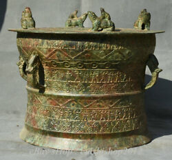 14 Antique Chinese Bronze Ware Dynasty Place Frog Beast People Drum