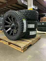 20x9 D616 Fuel Contra Black Wheels 32 Amp At Tires 6x135 Ford F150 Expedition