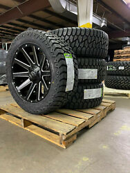 20x9 D616 Fuel Contra Black Wheels 32 Amp At Tires 6x5.5 Chevy Suburban Tahoe
