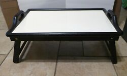 Vintage Mcm Formica Top Serving Tray With Wood Folding Base