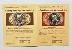 """1984 Ronald Reagan Series Aa 'double Eagle"""" Layered .999 Silver And 24kt Gold Coin"""