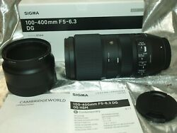 Sigma 100-400mm F5.0 Comte Dg Dn Os Zoom Lens Sony E New In Factory Box And Hood