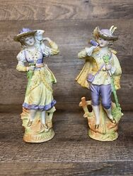 Vintage Occupied Japan Paulux Figurines Victorian Man And Woman Excellent