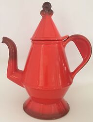 Metlox Poppytrail Red Rooster Red 5-cup Coffee Pot And Lid Mid-century Mint