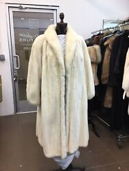 Ivory Off White Mink Full Skin Let Out Full Length Swing Coat Excellent Conditio