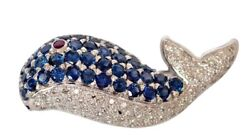 1.75ct Natural Round Diamond 14k Solid White Gold Sapphire Ruby Fish Brooch Pin