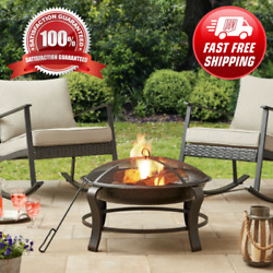 New Beautiful Mainstays Owen Park 28 Inch Round Wood Burning Fire Pit Mesh Spark