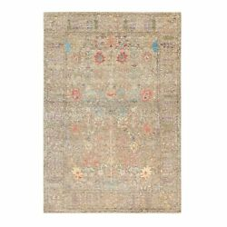 6and0392x9and0391 Taupe Silk With Wool Directional Vase Design Hand Knotted Rug R58928