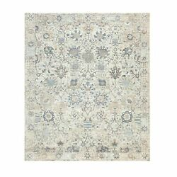 8'x10'1 Ivory Hand Knotted Silk With Textured Wool Tebraz Oriental Rug R58939