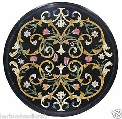 Size 34x34 Marble Dining Side Table Top Rare Marquetry Mosaic Inlay Work H1414