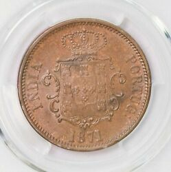 Ngc-ms62bn 1871 India Portuguese-goa 1/2tanga Only Two Finer Luster Unc