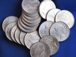 1923-p Peace Silver Dollar Brilliant Uncirculated Roll Of 20 Coins B3416