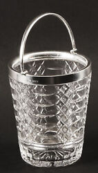 Vintage Sterling Silver And Crystal Ice Pail Bucket Mid 20th Century