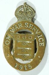 British Royal Army Ordnance Corps Wwi Service Lapel Pin With Serial Number