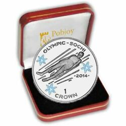 The 2014 Sochi Olympic Coloured Proof Silver Luge Coin