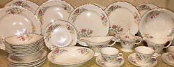 Edwin M Knowles China Co Gold Trimmed Plates And Serving Pieces 1940s Lot Of 41