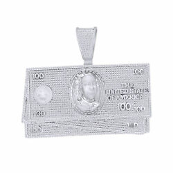 Diamond Simulated 100 Dollar Bill Currency Pendant 14k White Gold