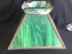 Antique Green Slag Stained Glass Lamp Shade Only Mission Oak Arts And Crafts Era