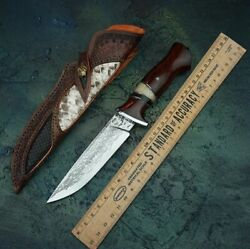 Handmade Vg10 Damascus Steel Unique Knife With Sheath Fixed Blade Collector Item