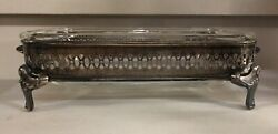 Vintage Silver-plate Casserole Side Dish Serving Tray 2 Piece Set Footed
