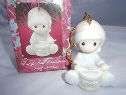 Precious Moments Ornament Babys 1st First Christmas 1991 Boy/playing Drum