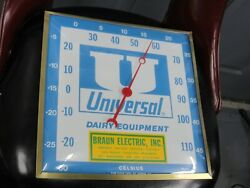 Vintage Pam Clock Inc Thermometer Advertising Universal Dairy Equipment Vgc Mint