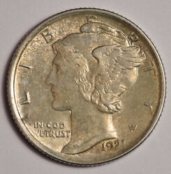 1921-p Mercury Dime. 100 Fully Separated Horizontal Bands Natural Bu. 155706