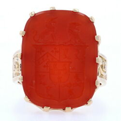 Carved Carnelian Coat Of Arms Ring - 14k Yellow Gold Unisex Size 12 3/4