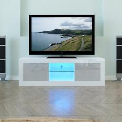 High Gloss Tv Unit Cabinet Stand W/led Lights Shelves Drawer Cabinet Home White