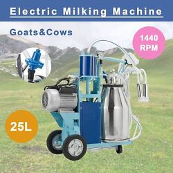 Electric Milking Machine For Goats Cows W/bucket 2 Plug 12cows/hour Milker 25l