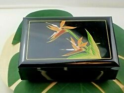 Black Lacquer Japanese Jewelry - Music Box With Inlaid Iris Flower