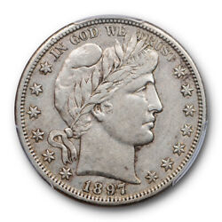 1897 S 50c Barber Half Dollar Pcgs Xf 40 Extra Fine Cac Approved Pop 6