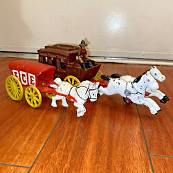 Cast Iron Horse Drawn Stage Coach W/ Cowboy Driver And Ice Wagon Toys Vtg Lot Of 2