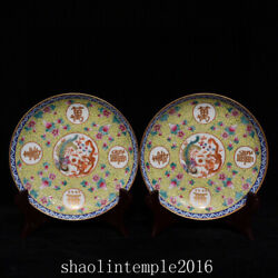 6.7 A Pair China The Qing Dynasty Pastel Dragon And Phoenix Pattern Disc