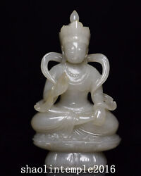 Infrequent China Antique Natural Nephrite Hand Carving Guanyin Statue