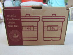 Longaberger Traditional Red Set Of 2 Condiment Crocks With Lids Mib/nrfb