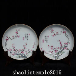 A Pair China Qing Dynasty Carmine Pastel Bamboo And Plum Pattern Disc