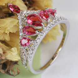 1.65ct Round Diamond 14k Solid White Gold Ruby Anniversary Cocktail Ring Size 7
