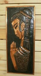 Vintage Hand Made Wall Hanging Copper Plaque Modernist Woman Portrait