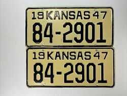Antique Vintage 1947 And 1948 Kansas Collectible Matching License Plates