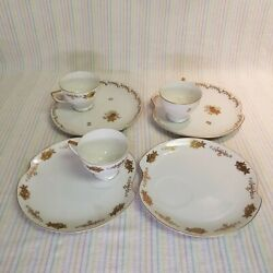 Vintage Lefton China 4651 Floral Gold Trim Snack Plates Tea Cups Hand Painted