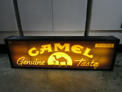 Old 2 Sided Genuine Camel Lighted Sign Bar Ware Mancave Tobacco Advertising