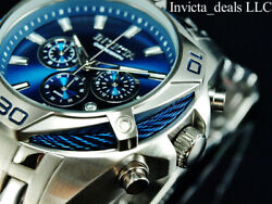 New Menand039s 52mm Bolt Scuba Chronograph Blue Dial Silver Tone Ss Watch