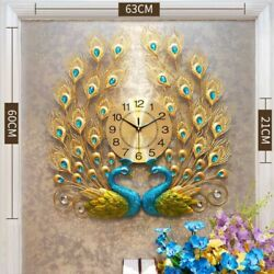 Luxury Peacock Large Wall Clock 3D Metal Living Room Wall Watch Home Decor
