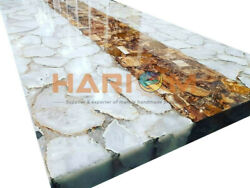 5and039x3and039 Salt Agate And Petrified Wood Beautiful Dining Table Top Hallway Decor A093a